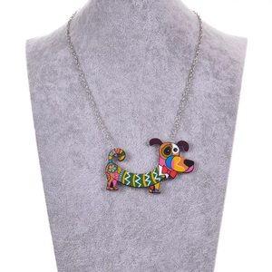 Jewelry - NWT Acrylic Dog Necklace Silver Chain